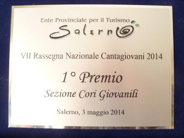 1° premio Concorso Cantagiovani 2014, Salerno