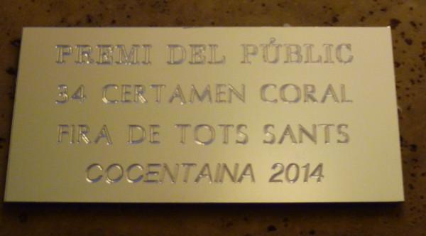 Premio Especial del publico, Certamen Fira di Tots Sants, Cocentaina, Spagna