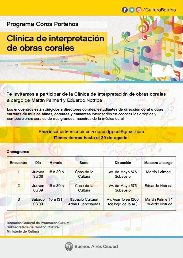 Clinica de interpretacion de obras corales