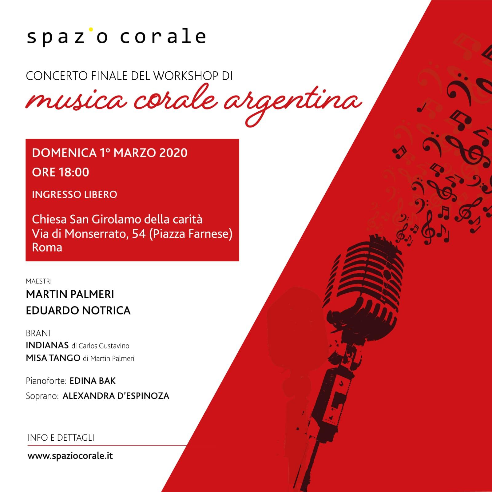 Concerto finale Workshop di musica corale argentina