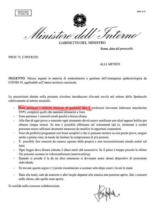 Disposizioni attuative dell'ultimo decreto-legge -riguardo ai concerti-